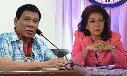 tong thong philippines rodrigo duterte (trai) va chanh an toa an toi cao maria lourdes sereno. anh: cnn