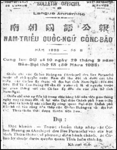 Quần đảo Hoàng Sa thuộc Tỉnh Thừa Thiên Huế (1938)
