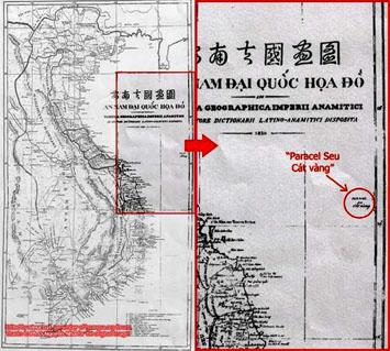 an nam dai quoc hoa do cua giam muc taberd xuat ban nam 1838 khang dinh paracels (cat vang, hoang sa) nam trong vung bien viet nam.