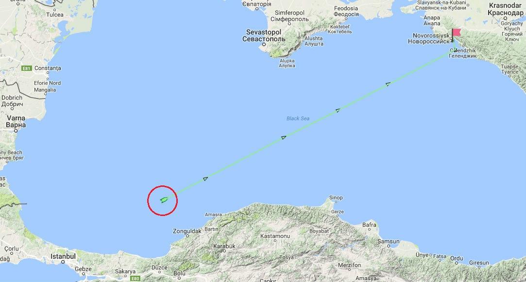 vi tri tau van tai rolldock star luc 11 gio ngay 3.9.2017 tren bien den, va lo trinh du kien den novorossiysk (nga)marinetraffic