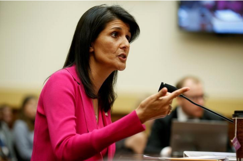 Đại sứ Mỹ tại LHQ Nikki Haley trong cuộc điều trần trước Ủy ban Đối ngoại Hạ viện ngày 28-6. Ảnh: REUTERS