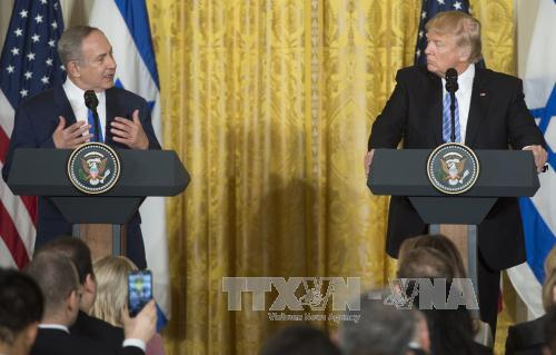 tong thong my donald trump (phai) va thu tuong israel benjamin netanyahu (trai) tai cuoc hop bao chung o washington, dc ngay 15/2. anh: afp/ttxvn