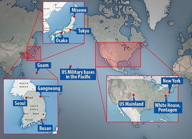 Bản đồ minh họa các địa điểm Ủy ban Quan hệ Đối ngoại châu Âu cho sẽ là mục tiêu tấn công hạt nhân của Triều Tiên. Ảnh: DAILY MAIL