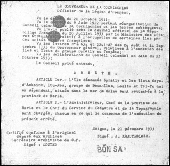 Quần đảo Trường Sa thuộc tỉnh Bà Rịa (1933)