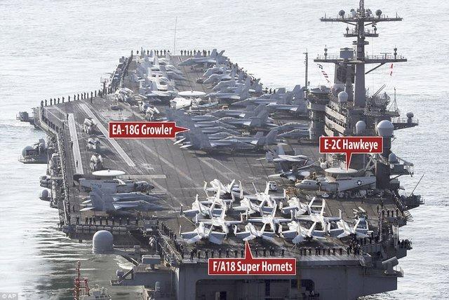 Uy lực siêu tàu sân bay 10 vạn tấn tới 'dọa' Triều Tiên
