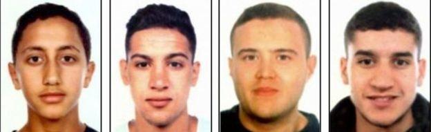 cac nghi can trong vu khung bo barcelona (tu trai sang): moussa oukabir, said aallaa, mohamed hychami va younes abouyaaqoub - anh: afp
