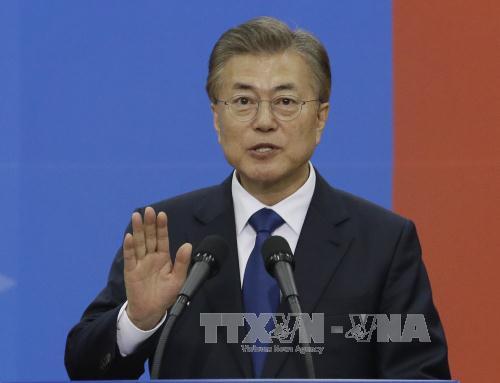 tong thong han quoc moon jae-in tai mot buoi le o seoul ngay 10/5. anh: afp/ttxvn