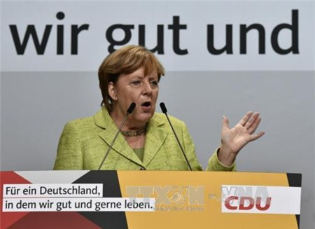 thu tuong duc angela merkel phat bieu tai torgau, mien dong duc ngay 6/9. anh: afp/ttxvn