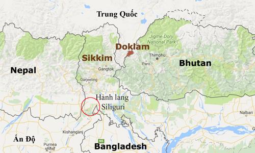 """hanh lang siliguri la """"co ga"""" ket noi vung dong bac an do voi phan con lai cua dat nuoc. do hoa:times of india."""